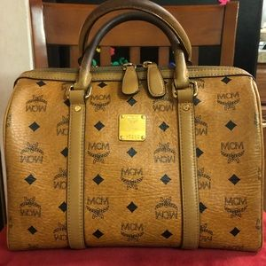 MCM Visetos Cognac handbag.